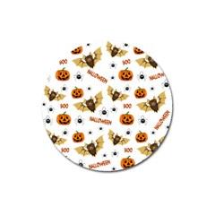 Bat, Pumpkin And Spider Pattern Magnet 3  (round) by Valentinaart