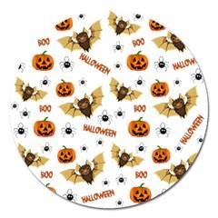 Bat, Pumpkin And Spider Pattern Magnet 5  (round) by Valentinaart