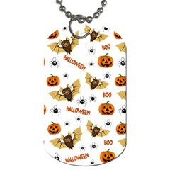 Bat, Pumpkin And Spider Pattern Dog Tag (one Side) by Valentinaart