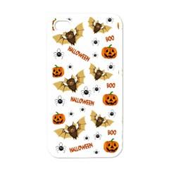 Bat, Pumpkin And Spider Pattern Apple Iphone 4 Case (white) by Valentinaart