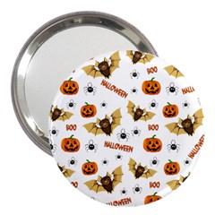 Bat, Pumpkin And Spider Pattern 3  Handbag Mirrors by Valentinaart