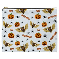 Bat, Pumpkin And Spider Pattern Cosmetic Bag (xxxl)  by Valentinaart