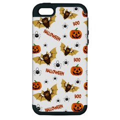 Bat, Pumpkin And Spider Pattern Apple Iphone 5 Hardshell Case (pc+silicone) by Valentinaart