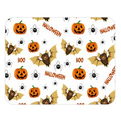 Bat, Pumpkin And Spider Pattern Double Sided Flano Blanket (large)  by Valentinaart