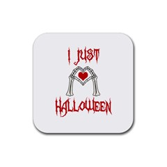I Just Love Halloween Rubber Square Coaster (4 Pack)  by Valentinaart