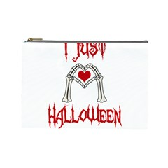 I Just Love Halloween Cosmetic Bag (large)  by Valentinaart