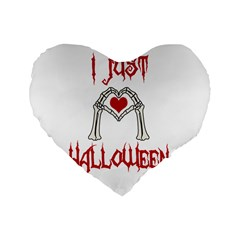 I Just Love Halloween Standard 16  Premium Flano Heart Shape Cushions by Valentinaart
