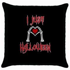 I Just Love Halloween Throw Pillow Case (black) by Valentinaart