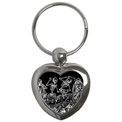 Skeletons   Halloween Key Chains (heart)  by Valentinaart