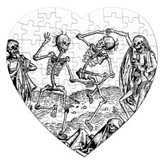 Skeletons   Halloween Jigsaw Puzzle (heart) by Valentinaart