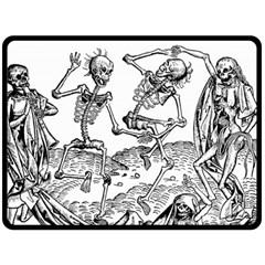 Skeletons   Halloween Double Sided Fleece Blanket (large)  by Valentinaart