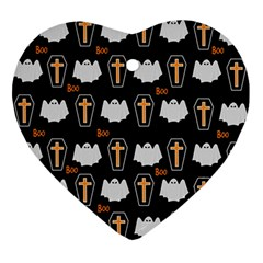 Ghost And Chest Halloween Pattern Ornament (heart) by Valentinaart
