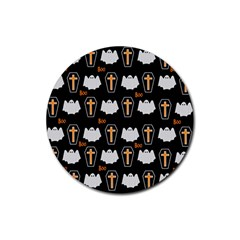 Ghost And Chest Halloween Pattern Rubber Round Coaster (4 Pack)  by Valentinaart
