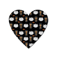 Ghost And Chest Halloween Pattern Heart Magnet by Valentinaart