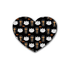 Ghost And Chest Halloween Pattern Heart Coaster (4 Pack)  by Valentinaart