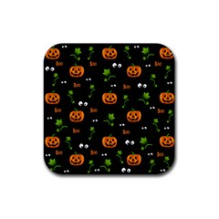 Pumpkins   Halloween Pattern Rubber Square Coaster (4 Pack)  by Valentinaart