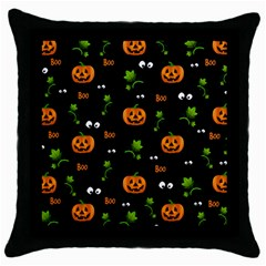 Pumpkins   Halloween Pattern Throw Pillow Case (black) by Valentinaart