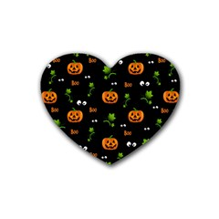 Pumpkins   Halloween Pattern Rubber Coaster (heart)  by Valentinaart