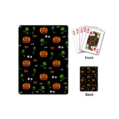 Pumpkins   Halloween Pattern Playing Cards (mini)  by Valentinaart