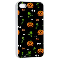Pumpkins   Halloween Pattern Apple Iphone 4/4s Seamless Case (white) by Valentinaart