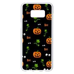 Pumpkins   Halloween Pattern Samsung Galaxy S8 Plus White Seamless Case by Valentinaart