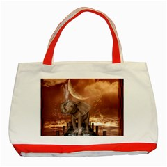 Cute Baby Elephant On A Jetty Classic Tote Bag (red) by FantasyWorld7