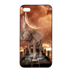 Cute Baby Elephant On A Jetty Apple Iphone 4/4s Seamless Case (black) by FantasyWorld7