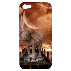 Cute Baby Elephant On A Jetty Apple Iphone 5 Hardshell Case by FantasyWorld7
