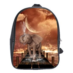 Cute Baby Elephant On A Jetty School Bag (xl) by FantasyWorld7