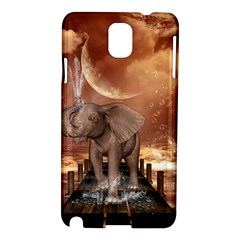 Cute Baby Elephant On A Jetty Samsung Galaxy Note 3 N9005 Hardshell Case by FantasyWorld7