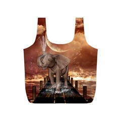 Cute Baby Elephant On A Jetty Full Print Recycle Bags (s)  by FantasyWorld7