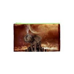 Cute Baby Elephant On A Jetty Cosmetic Bag (xs) by FantasyWorld7