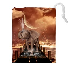 Cute Baby Elephant On A Jetty Drawstring Pouches (xxl) by FantasyWorld7