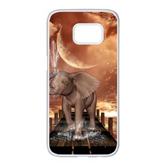 Cute Baby Elephant On A Jetty Samsung Galaxy S7 Edge White Seamless Case by FantasyWorld7