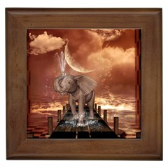 Cute Baby Elephant On A Jetty Framed Tiles by FantasyWorld7