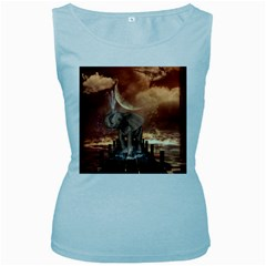 Cute Baby Elephant On A Jetty Women s Baby Blue Tank Top by FantasyWorld7