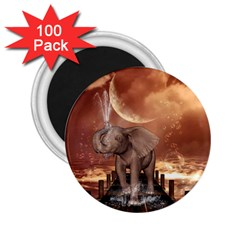 Cute Baby Elephant On A Jetty 2 25  Magnets (100 Pack)  by FantasyWorld7