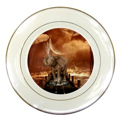 Cute Baby Elephant On A Jetty Porcelain Plates by FantasyWorld7