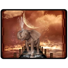 Cute Baby Elephant On A Jetty Fleece Blanket (large)  by FantasyWorld7