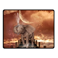 Cute Baby Elephant On A Jetty Fleece Blanket (small) by FantasyWorld7
