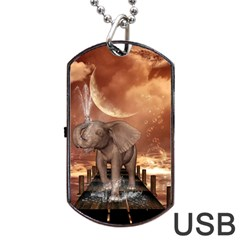 Cute Baby Elephant On A Jetty Dog Tag Usb Flash (two Sides) by FantasyWorld7