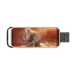 Cute Baby Elephant On A Jetty Portable Usb Flash (one Side) by FantasyWorld7