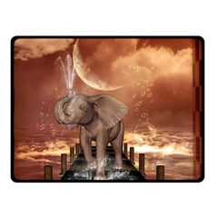 Cute Baby Elephant On A Jetty Double Sided Fleece Blanket (small)  by FantasyWorld7