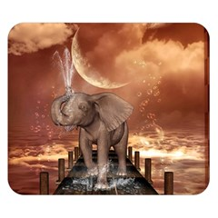 Cute Baby Elephant On A Jetty Double Sided Flano Blanket (small)  by FantasyWorld7