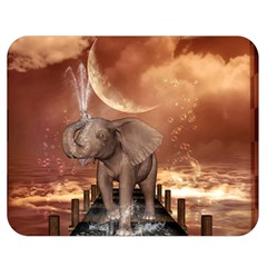 Cute Baby Elephant On A Jetty Double Sided Flano Blanket (medium)  by FantasyWorld7