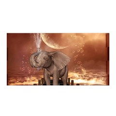 Cute Baby Elephant On A Jetty Satin Wrap by FantasyWorld7