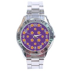 Ditsy Floral Pattern Design Stainless Steel Analogue Watch by dflcprints