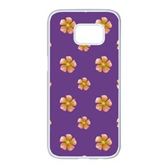 Ditsy Floral Pattern Design Samsung Galaxy S7 Edge White Seamless Case by dflcprints