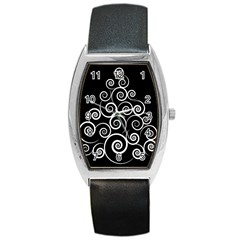 Abstract Spiral Christmas Tree Barrel Style Metal Watch by Mariart