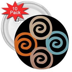 Abroad Spines Circle 3  Buttons (10 Pack)  by Mariart
